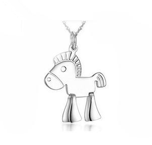 Free shipping 2014 new arrival fashion wooden horse fashion 925 sterling silver pendant necklaces jewelry birthday gift(China (Mainland))