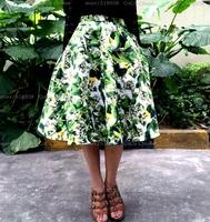 Stunning! 2014 new summer fashion women's girls ball gown skirt pockets brand lemon leaves patterns print skirts knee length