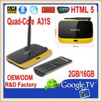 Android tv box Quad-Core A31S 4K player XBMC Netflix Pre-installed EKB313 Quad core box