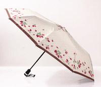 2014 free shipping lovely strawberry  three folding umbrella automatic rain women waterproof umbrella