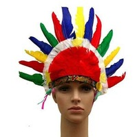 Wholesale 10pcs/lot Fancy Dress Party Headdress Colorful Feather Indian Chief  Hat For Carnival Halloween Costume Hats