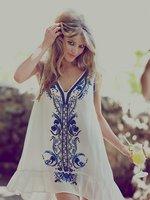 free shipping new arrival Heavy embroidery beaded flower beach dress women dress fashion dresses vintage dress