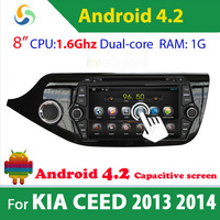 For KIA CEED 2013 2014 2 Din Pure Android 4.2 Car dvd GPS with WIFI 3G GPS USB Bluetooth Capacitive screen Car radio car unit