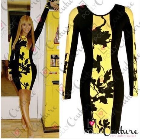 Eiwei Jahrgang Designer-Kleid mit Leder Detail Spitze