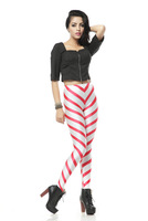 2014 Women's White and Red Stripe Print Autumn Pants Comfy Pencil Leggings Sexy Pants European and American Style Free Shipping