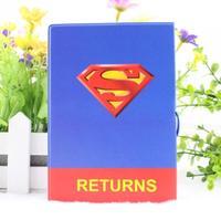 NEW Cartoon Superman passport cover passport folder bag Short Passport Case card holder blue color size 14*9.6cm