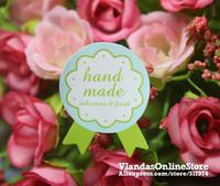 Wholesale 900Pcs Beautiful Green Medal Shape Handmade Adhesive Sticker Gift Sticker 3.5*2.7cm, STK-189