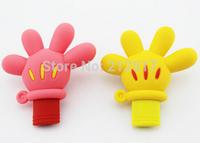 Free shipping Gift Cartoon silicone Mickey Palm USB flash drive Hand pen drive 4G 8G 16G 32G 64GB 128GB