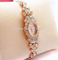 Free shipping European high-grade Set auger rose gold bracelet watch ladies fashion personality Quartz watch electronic 2014 new