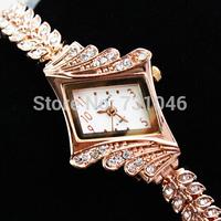 Free shipping  luxury business premium women's fashion rose gold diamond bracelet quartz watch electronic 2014 new