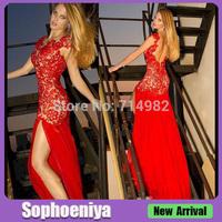EVLM57 Vestidos De Fiesta 2014 ReaL Sexy Front Spilt Lace Long Prom Dresses