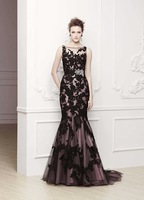 E3295 Elegant sheer straps nude and black lace mermaid evening dress