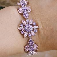 "Wholesale Fashion Lady's 80PCS 7.48"" Tourmaline & Pink Topaz 925 Silver Bracelet Love Style Gift"