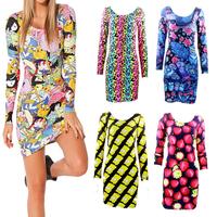 Fashion Hot women  dress summer 2014 adventure time patterns Print Dress Ladies Long Sleeve punk vogue evening dress