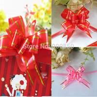 50 Pcs/lot Pull Bow Wedding Decoration Car Pew Gift Wrap Floristry Package Ribbon xmas Free Shipping