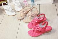 New bohemia children shoes girls sandals children beaded flower flip-flop shoes princess sandals