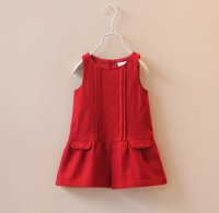 DW 4015 Girls spring autumn wool vest dress 6PCS/LOT 3 colors