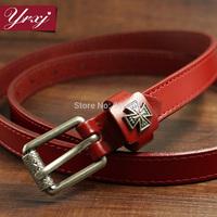 Ms. Korean wild retro leather thin belt knotted decorative female models