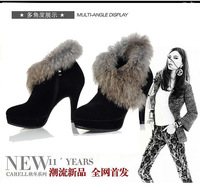 The new fashion high leather boots with rabbit hair female short boots