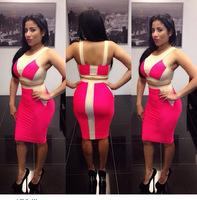 2014 Summer Dress  Sexy Casual 2 Piece Woman Bandage Dress, Mini Party Clothing Set, Club Dress SC018