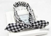 checked  bowknot Headband cotton  bow knot elastic hair band headbands