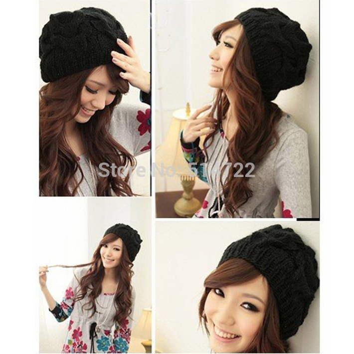 1pcs Fashion Black Women Warm Winter Beanie Beret Braided Crochet knitting Hat Free Shipping(China (Mainland))