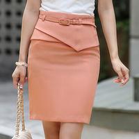 Wholesale 2014 New Arrival Big Size XXXL High Waist Ladies Fashion Work Skirt Solid Pink Women's Summer Pencil Skirts