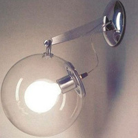 1 light chrome plating LED IKEA bedroom corridor modern glass wall sconce industrial wall lamp light clear glass