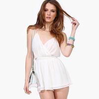 2014 Women New Fashion Chiffon Jumpsuit Backless Front Deep V-Neck Back Cross Women Hot Sale White Strap Jumpsuit D489