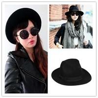 2014 New Autum Winter Black Men&Women Knight Woolen Hat Winter Warm Bucket Hat Retro Topper Fedora
