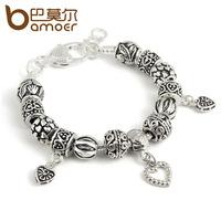 Fashion DIY beads bracelet thai silver heart tibetan silver jewelry lovers accessories