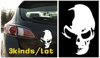 "Free Shipping,2kinds/lot,car styling,waterproof ""Skull+Go Fishing""car sticker for KIA Rio, BMW E46 and so on car covers"