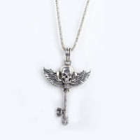 Hot Cool Skull Wing Key Funk Silver And Bronze-coloured Rhinestone Metal Necklace Pendant XL09