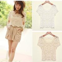 2014 Women's Spring summer wear new hollow out lace shirt Floral Crochet White Short Tops 2X E3100