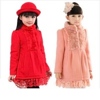Retail 1Pc New 2014 Children Spring Winter Faux Fur Lace Medium-Long Outerwear Baby Girls Warm Coat Jackets For Girls CC1110