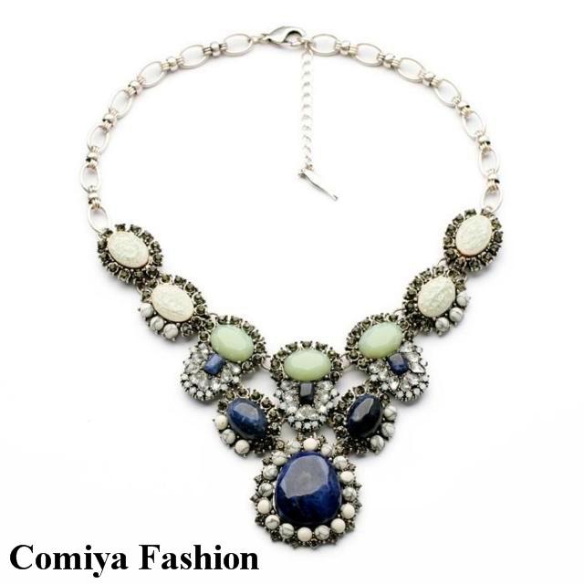 Blue green imitation gemstone jewelry choker necklace pendant for bijoux women india wedding divergent hobbit frida kahlo alice(China (Mainland))