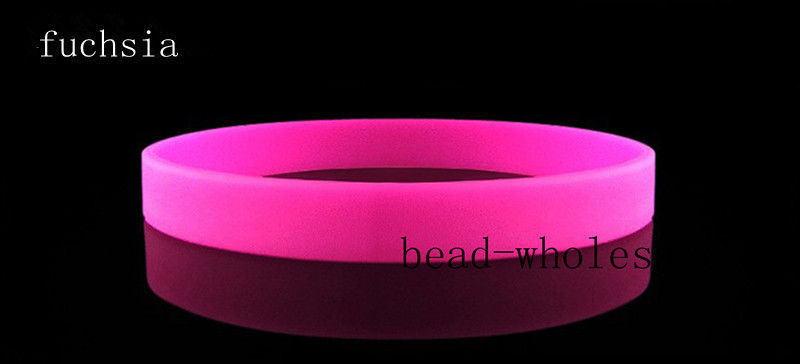 New 2pcs Assorted Custom Rubber Bracelet Elastic Fuchsia Sport Silicone Wristbands DIY Many Color to Choose(China (Mainland))
