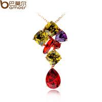 Aaa zircon female necklace pendant colorful zircon multicolour mona lisa necklace female