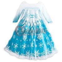 Free Shipping  Frozen Princess Elsa Dress Cosplay Costume Movie Elsa Costume For Kids/girls