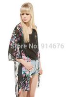 Kimono Cardigan Blusas de seda 2014 Spring Summer New Blouse Butterfly Print Perspective Fashion Jacket Coat ,Free Shipping