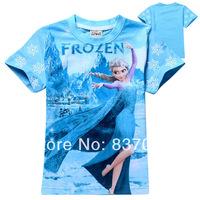 Frozen Children T Shirts baby & kids Frozen Elsa Princess Blue Shirt Short-sleeve Brand Girls T Shirts