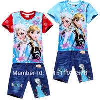 Frozen Costumes Girls Clothing Sets Frozen T-Shirt + Demin Shorts Frozen Elsa Frozen Clothes Sets For Kids 2-8age
