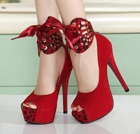 Fashion 2014 Spring Ultra High Heels Women's Platforms Shoes Open Toe Leopard Print Two-Ways Bride Wedding Shoes