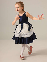 V Neckline Dark Navy Organza Short Flower Girl Dresses