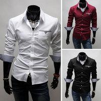 Men's Shirts Men's British Fine Lattice Patch Long Sleeve T-Shirt Size:M-XXL For Choose Free Shipping 1PCS