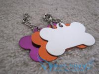 Free Shipping 50pcs/lot Creative cute Big bone Dog Tags Anodized Customized Pet ID Ball Chains Biggest  L Size 4cm