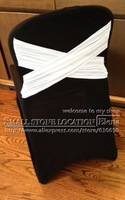 WHITE cross back  BLACK Lycra chair cover,swag back,,high quality for banquet,wedding and hotel