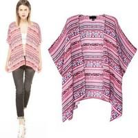 2014 New arrivals Ladies' Vintage Totem print Kimono Batwing sleeve loose vintage cape  cardigan casual brand design coat