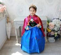 RQ0159 Free shipping new 2014 dress Anna dress children dress  girls dresses + red cloak  Anna costume  kids clothing retail