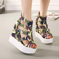 2014 new summer fashion spell color vintage hollow slope with thick crust fish head camouflage slip heels nightclub muffin 0235